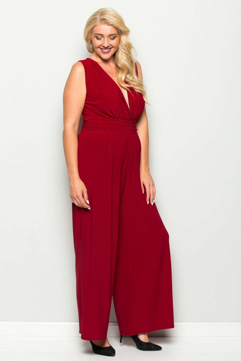 Red Plus Size Sleeveless Wide Leg Jumpsuit - Jumpsuit - My Yuccie - 2