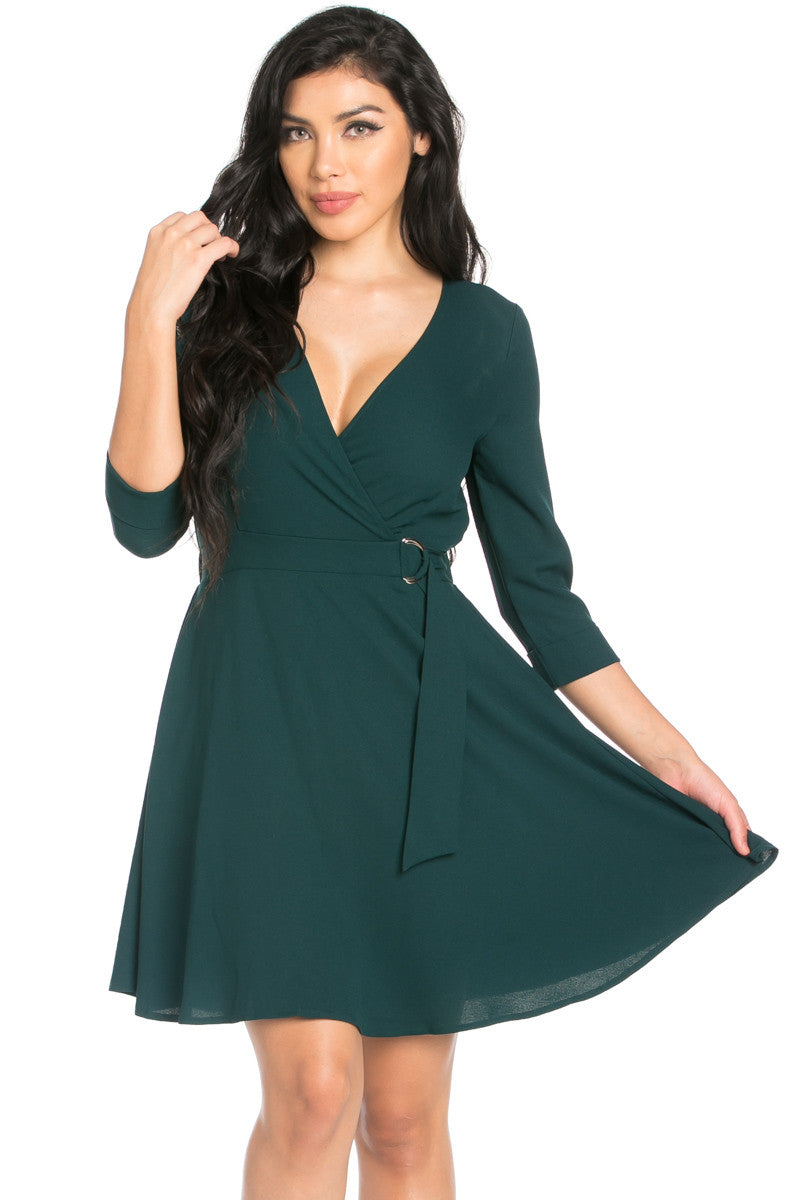 Green Surplice Skater Dress - Dresses - My Yuccie - 2