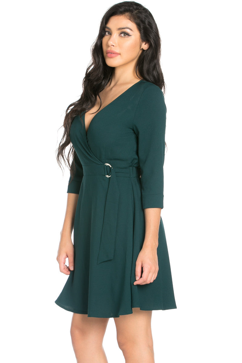 Green Surplice Skater Dress - Dresses - My Yuccie - 3