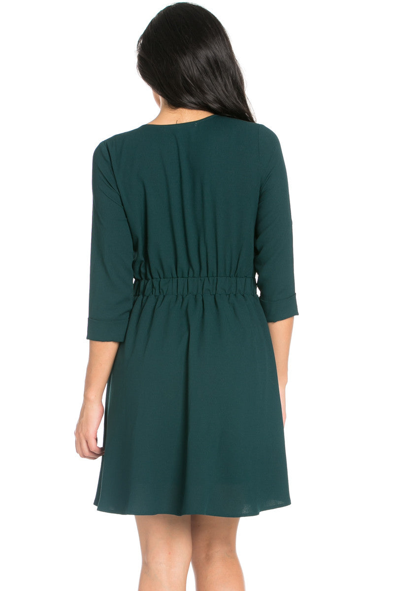 Green Surplice Skater Dress - Dresses - My Yuccie - 5