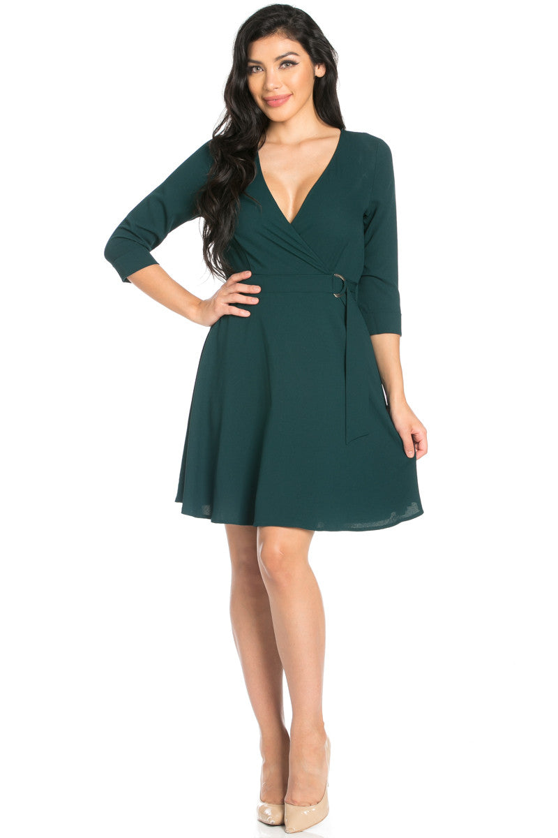 Green Surplice Skater Dress - Dresses - My Yuccie - 6