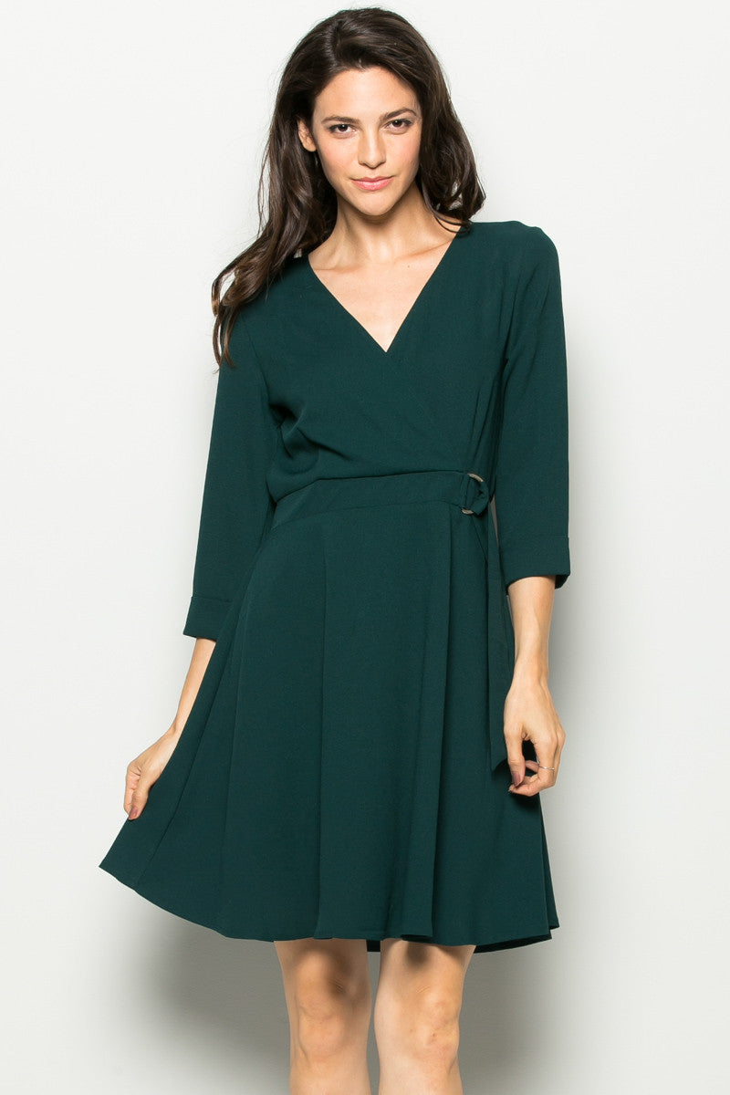 Green Surplice Skater Dress - Dresses - My Yuccie - 1