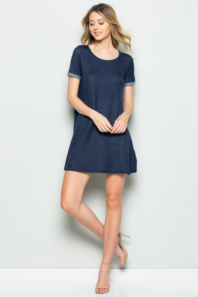 Navy French Terry Short Sleeve Tunic Top