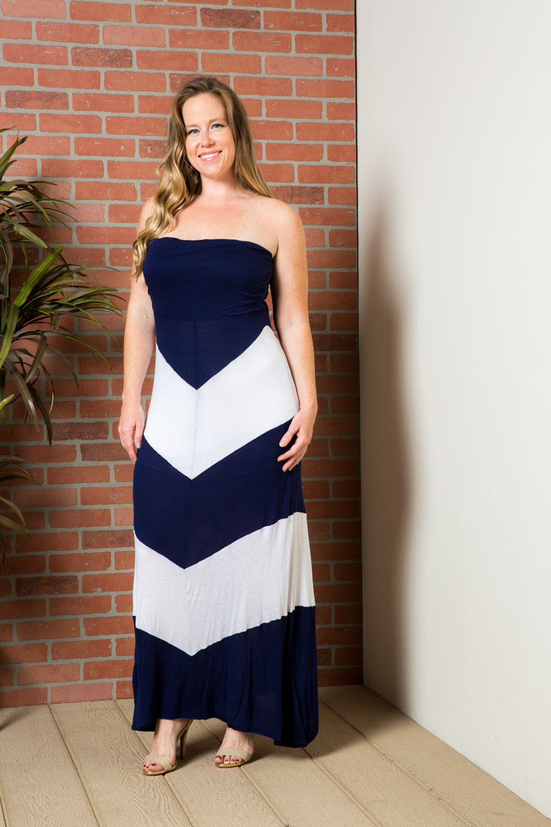 Strapless Long tube Dress Navy/White Cause You're Chevron - Dresses - My Yuccie - 1