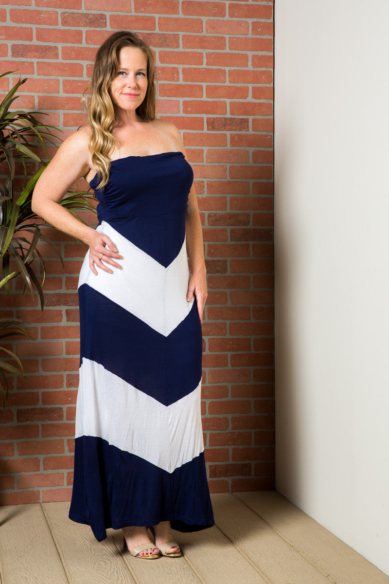 Strapless Long tube Dress Navy/White Cause You're Chevron - Dresses - My Yuccie - 2