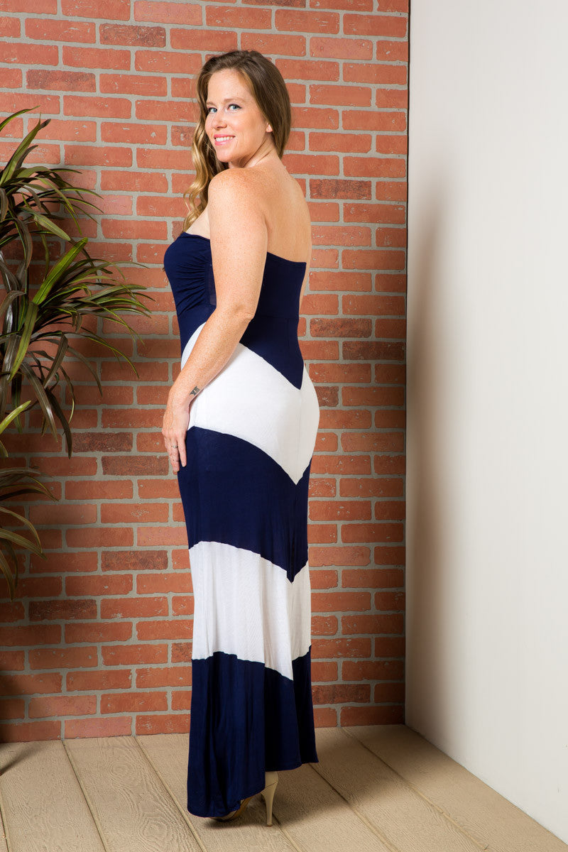 Strapless Long tube Dress Navy/White Cause You're Chevron - Dresses - My Yuccie - 3