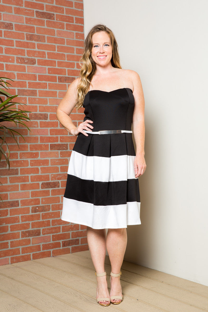 Sweetheart Color Block in Black Tube Dress with Belt - Dresses - My Yuccie - 2