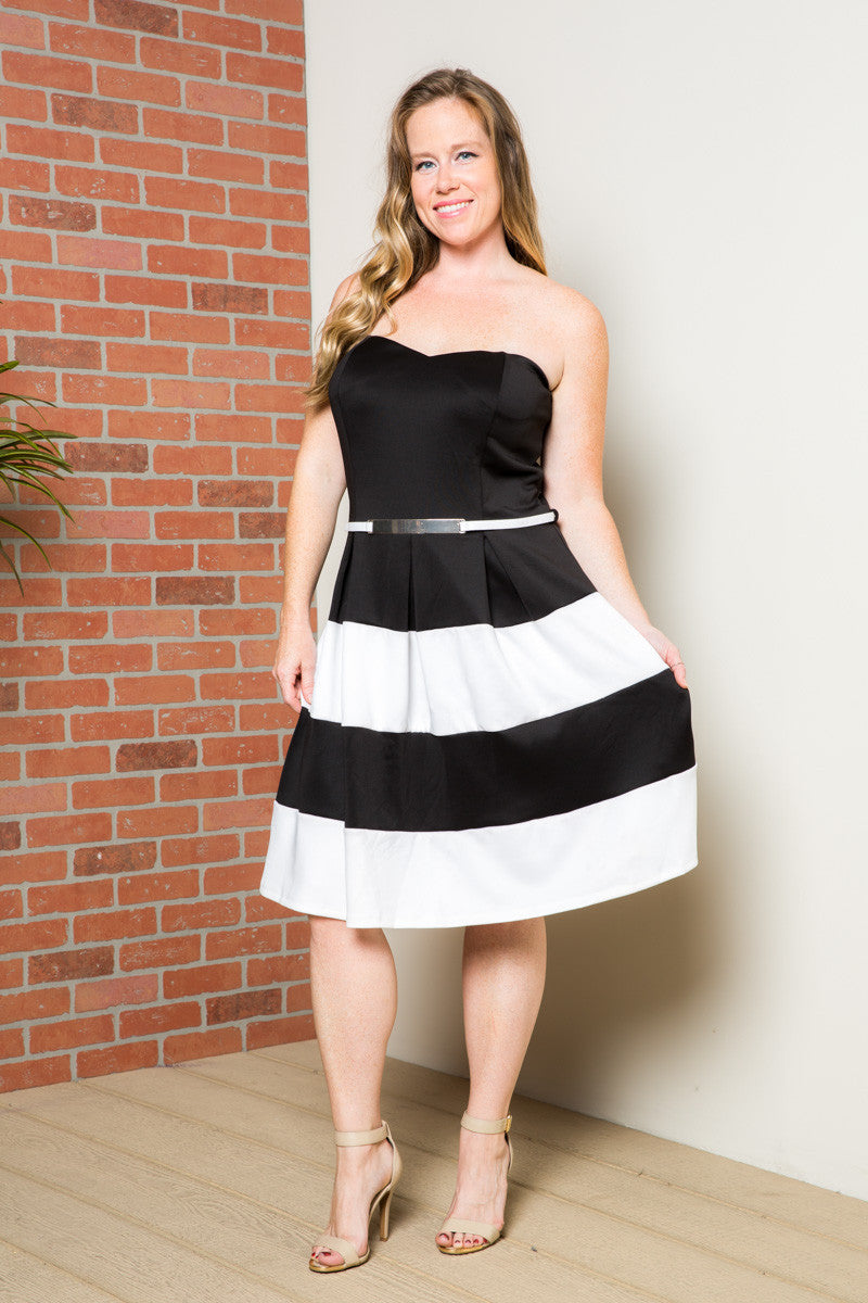 Sweetheart Color Block in Black Tube Dress with Belt - Dresses - My Yuccie - 1