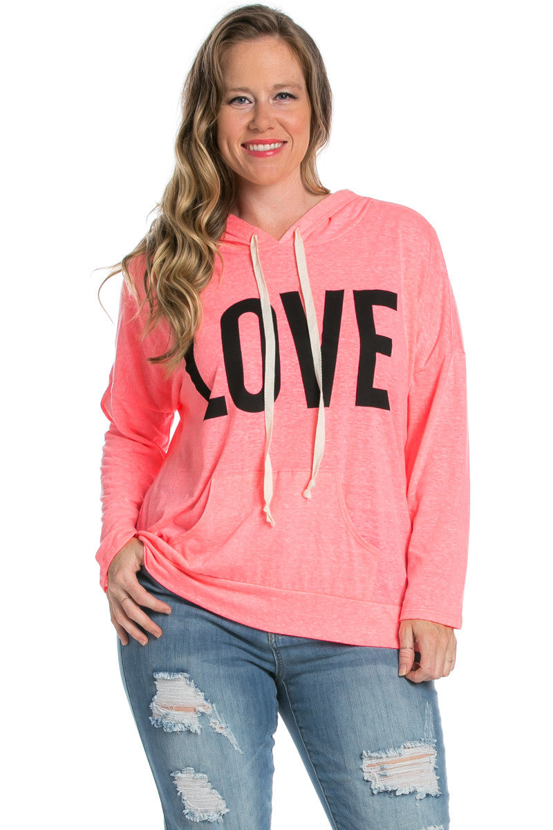 Love Neon Pink Hoodie Sweater Top - Sweaters - My Yuccie - 2