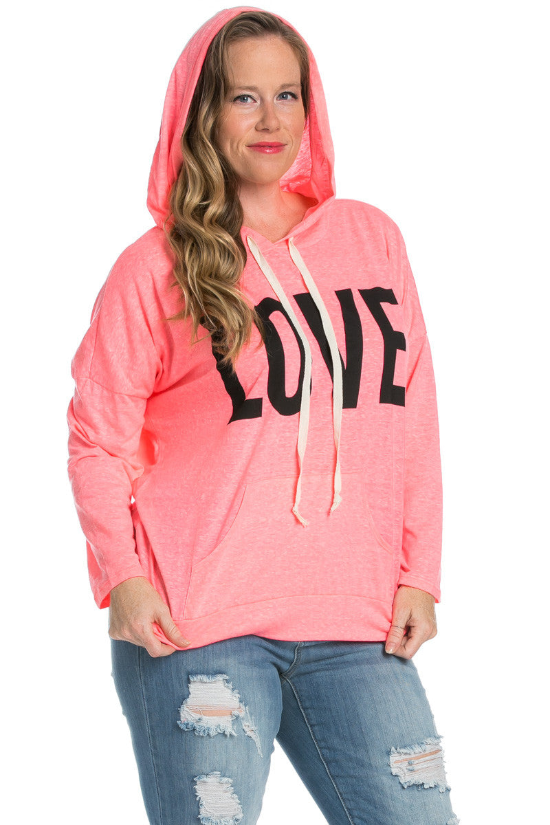 Love Neon Pink Hoodie Sweater Top - Sweaters - My Yuccie - 1
