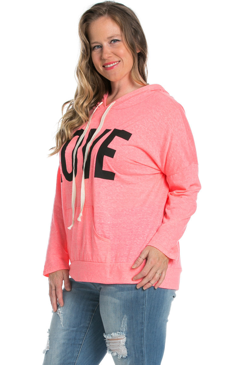 Love Neon Pink Hoodie Sweater Top - Sweaters - My Yuccie - 3