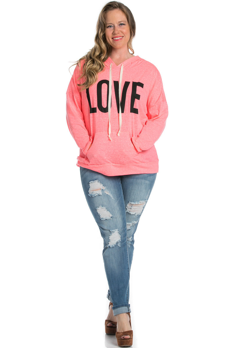 Love Neon Pink Hoodie Sweater Top - Sweaters - My Yuccie - 5