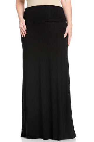 Plus Size Fold Over Two-Way Maxi Skirt Black - Skirts - My Yuccie - 1