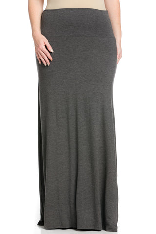Plus Size Fold Over Two-Way Maxi Skirt Charcoal - Skirts - My Yuccie - 1