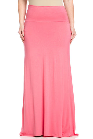 Plus Size Fold Over Two-Way Maxi Skirt Coral - Skirts - My Yuccie - 1