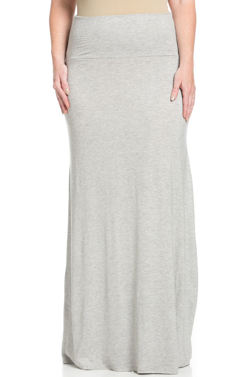 Plus Size Fold Over Two-Way Maxi Skirt Heather Grey - Skirts - My Yuccie - 1