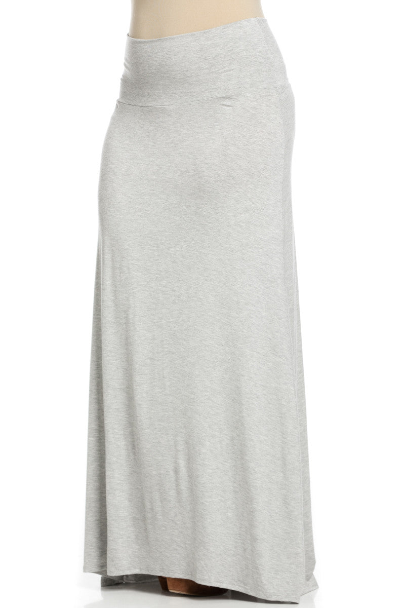 Plus Size Fold Over Two-Way Maxi Skirt Heather Grey - Skirts - My Yuccie - 4