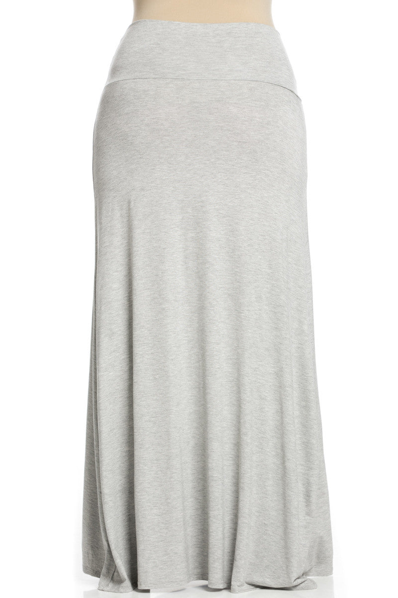 Plus Size Fold Over Two-Way Maxi Skirt Heather Grey