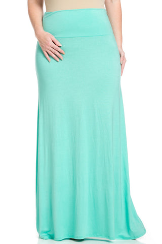 Plus Size Fold Over Two-Way Maxi Skirt Mint - Skirts - My Yuccie - 1