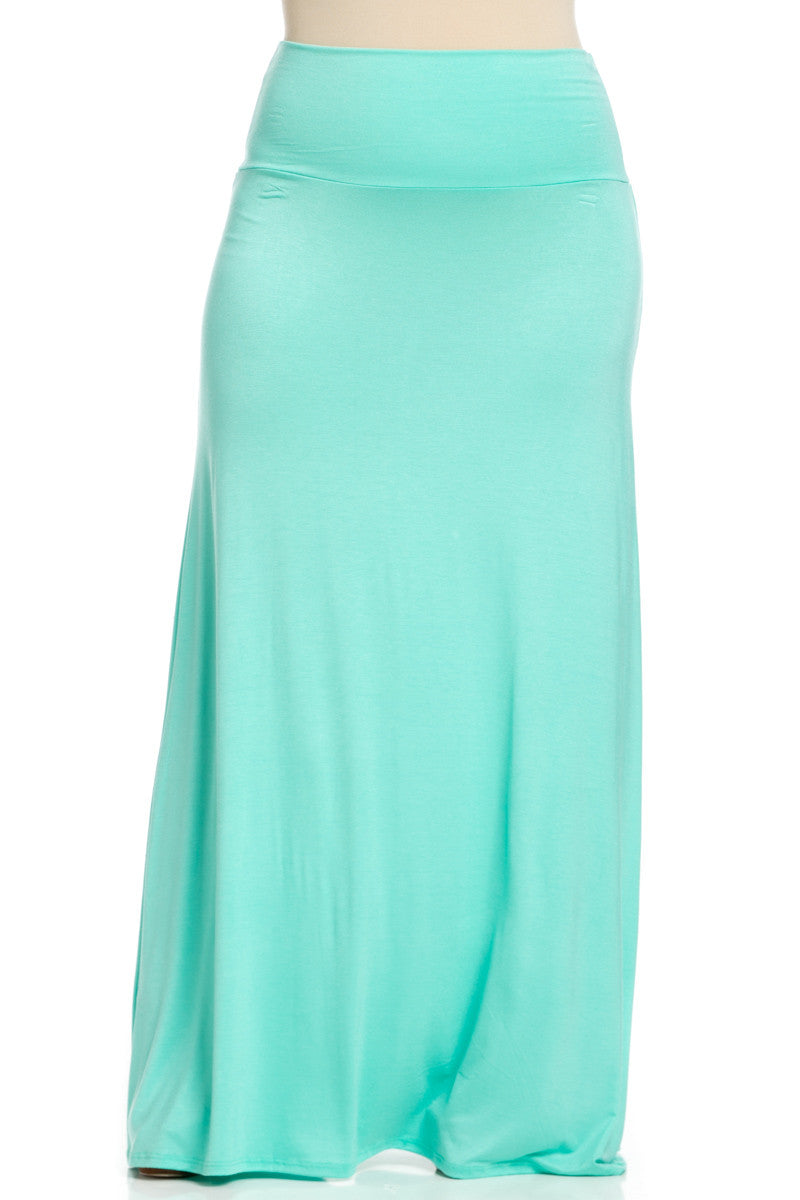 Plus Size Fold Over Two-Way Maxi Skirt Mint - Skirts - My Yuccie - 2