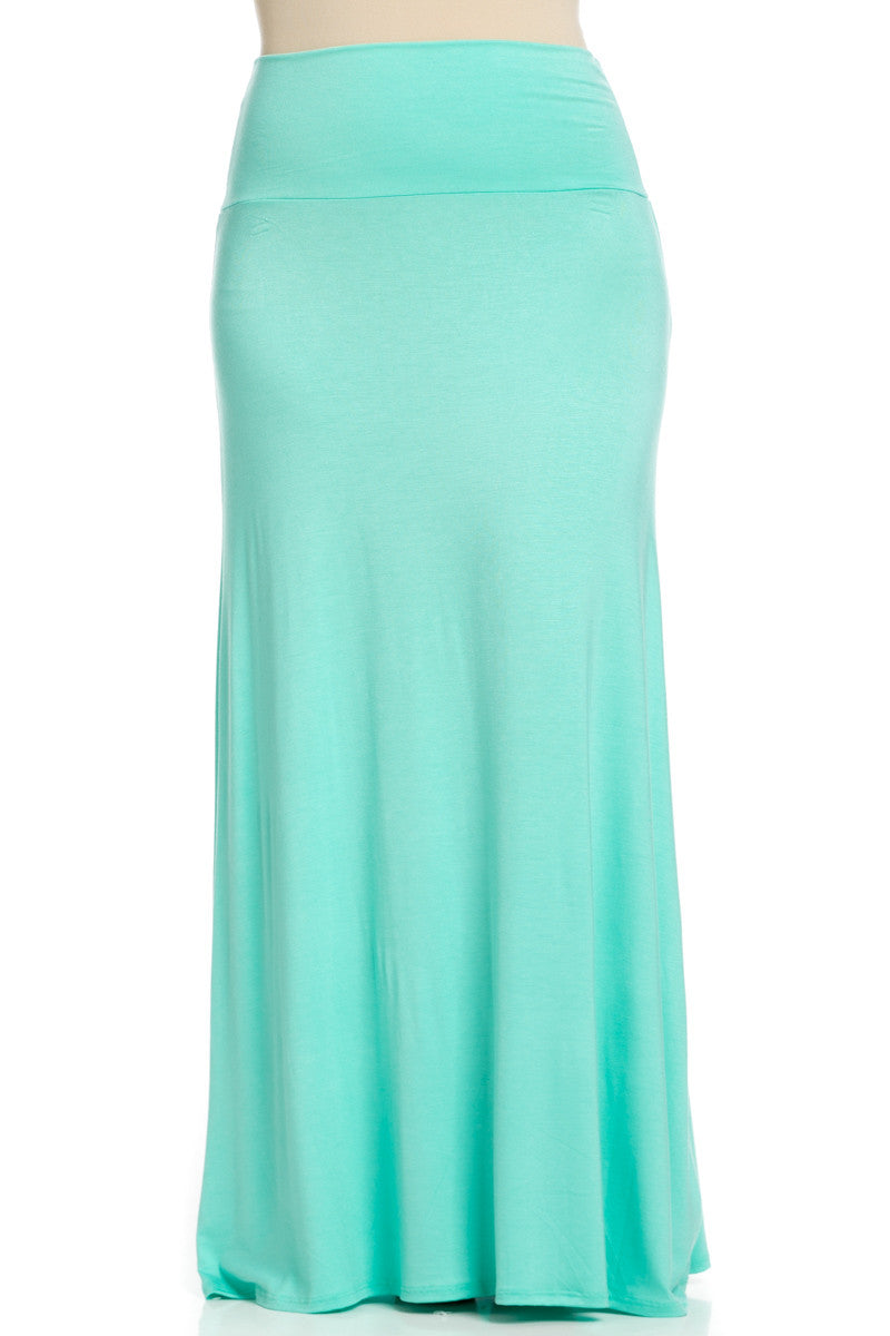 Plus Size Fold Over Two-Way Maxi Skirt Mint - Skirts - My Yuccie - 3