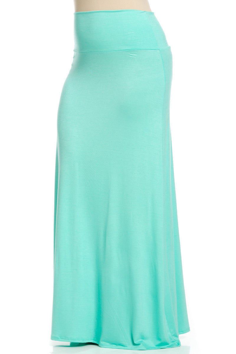 Plus Size Fold Over Two-Way Maxi Skirt Mint - Skirts - My Yuccie - 4