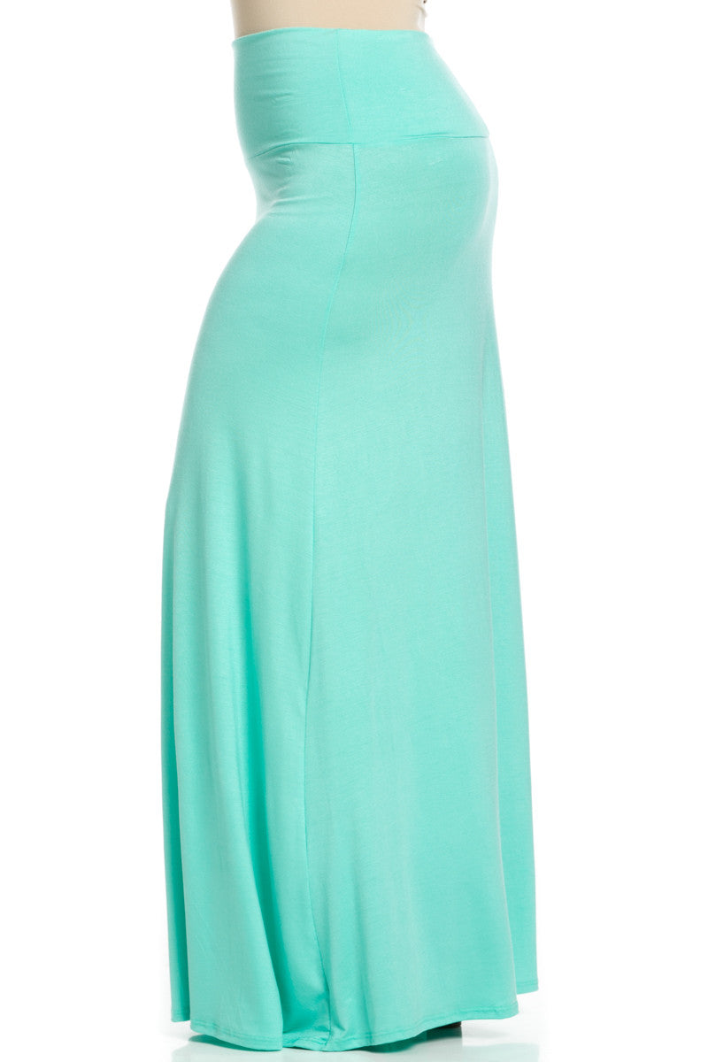 Plus Size Fold Over Two-Way Maxi Skirt Mint - Skirts - My Yuccie - 5