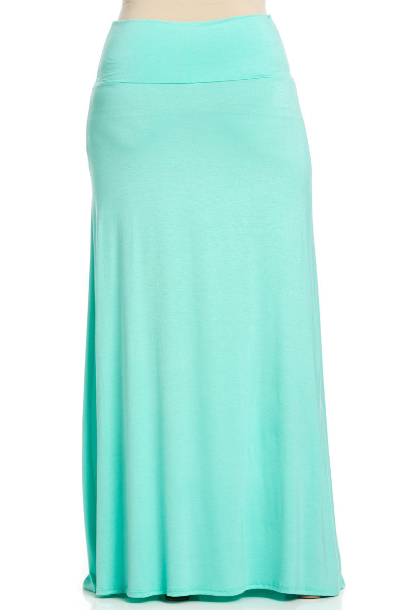 Plus Size Fold Over Two-Way Maxi Skirt Mint