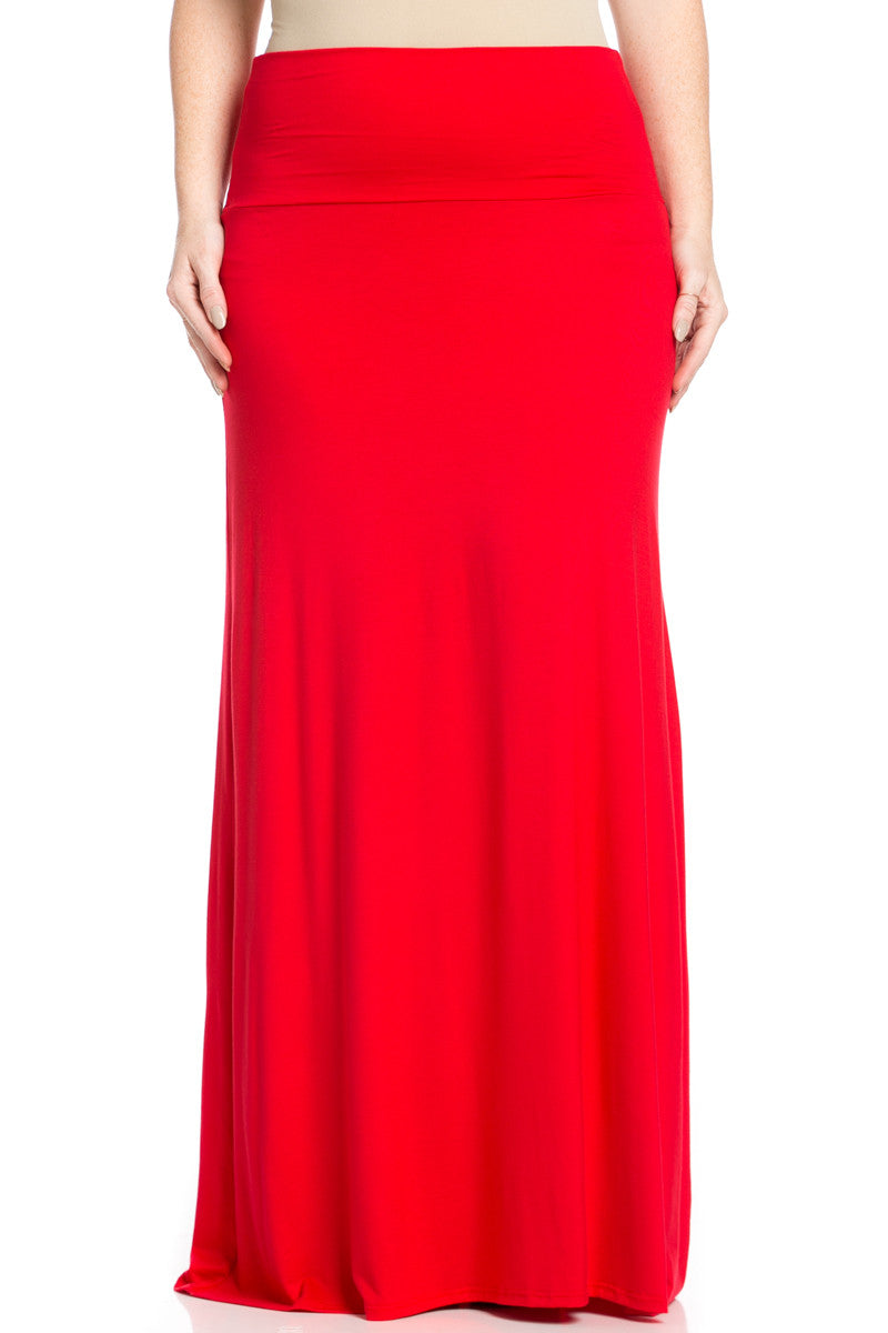 Plus Size Fold Over Two-Way Maxi Skirt Red - Skirts - My Yuccie - 1