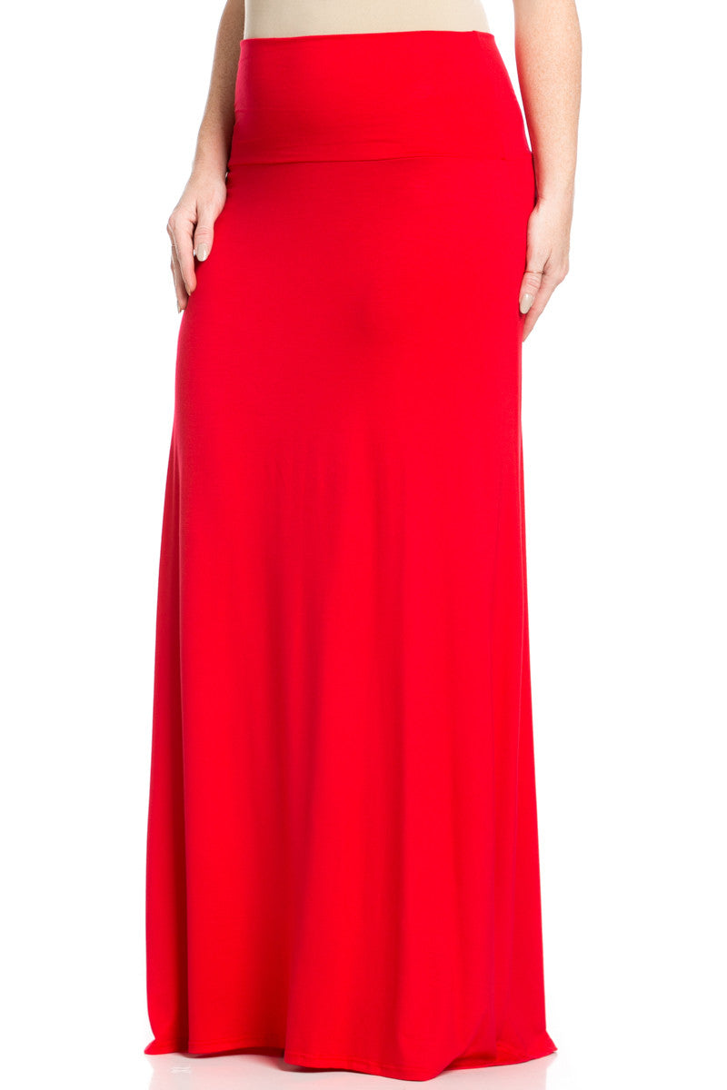 Plus Size Fold Over Two-Way Maxi Skirt Red - Skirts - My Yuccie - 2