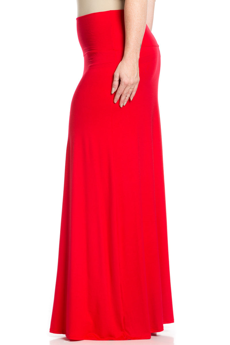 Plus Size Fold Over Two-Way Maxi Skirt Red - Skirts - My Yuccie - 3