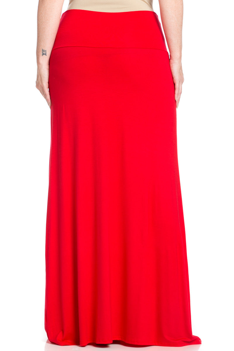 Plus Size Fold Over Two-Way Maxi Skirt Red - Skirts - My Yuccie - 5