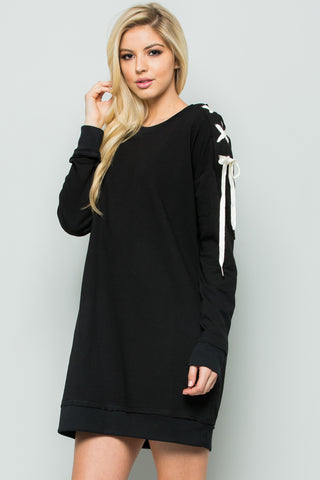 Shoulder Lace Up Sweater Dress in Black - Dresses - My Yuccie - 1
