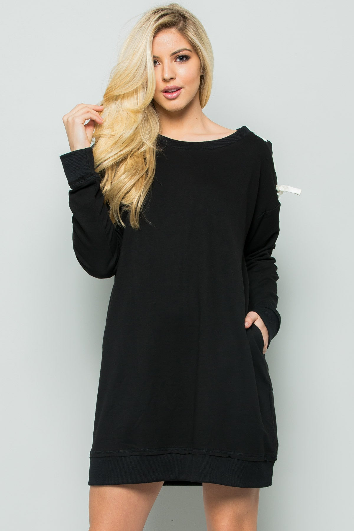 Shoulder Lace Up Sweater Dress in Black - Dresses - My Yuccie - 2
