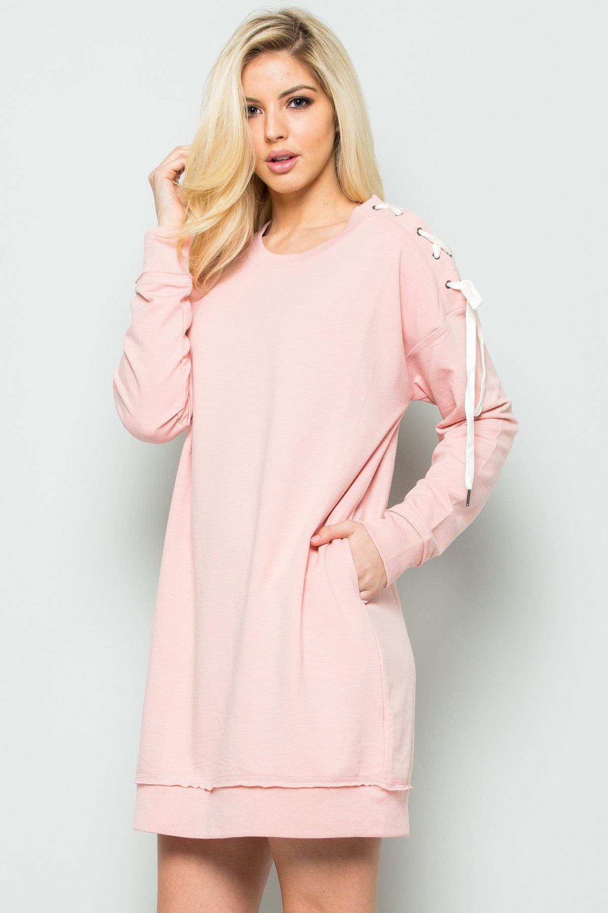 Shoulder Lace Up Sweater Dress in Blush - Dresses - My Yuccie - 2