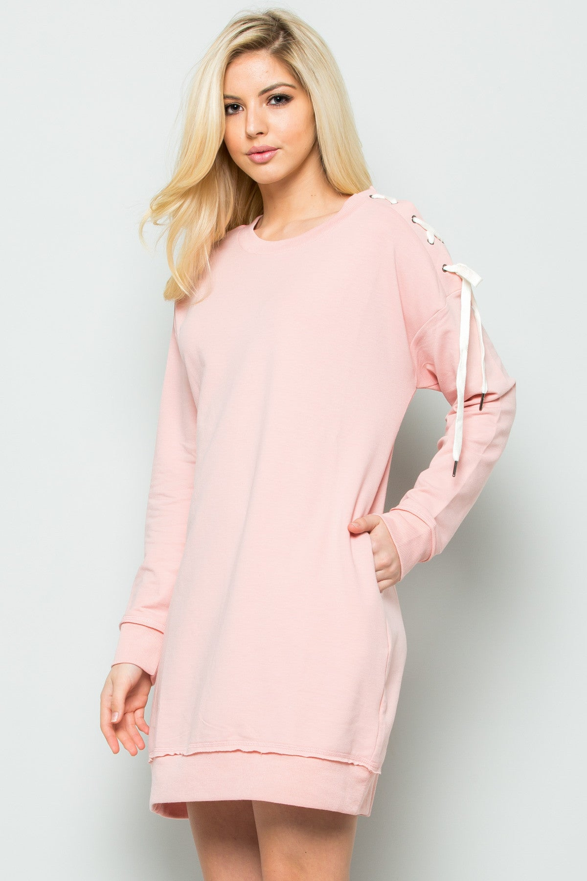 Shoulder Lace Up Sweater Dress in Blush - Dresses - My Yuccie - 6