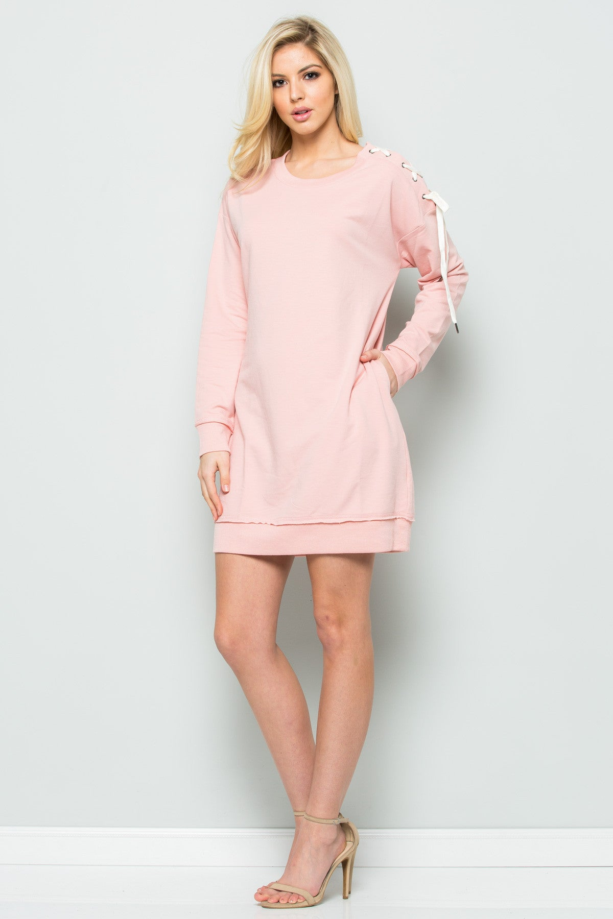 Shoulder Lace Up Sweater Dress in Blush - Dresses - My Yuccie - 5