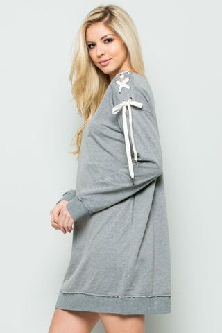 Shoulder Lace Up Sweater Dress in Heather Grey - Dresses - My Yuccie - 1