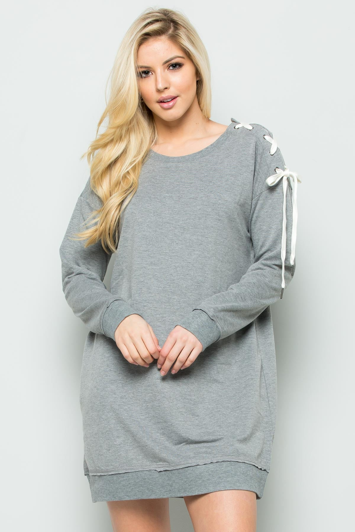 Shoulder Lace Up Sweater Dress in Heather Grey - Dresses - My Yuccie - 7