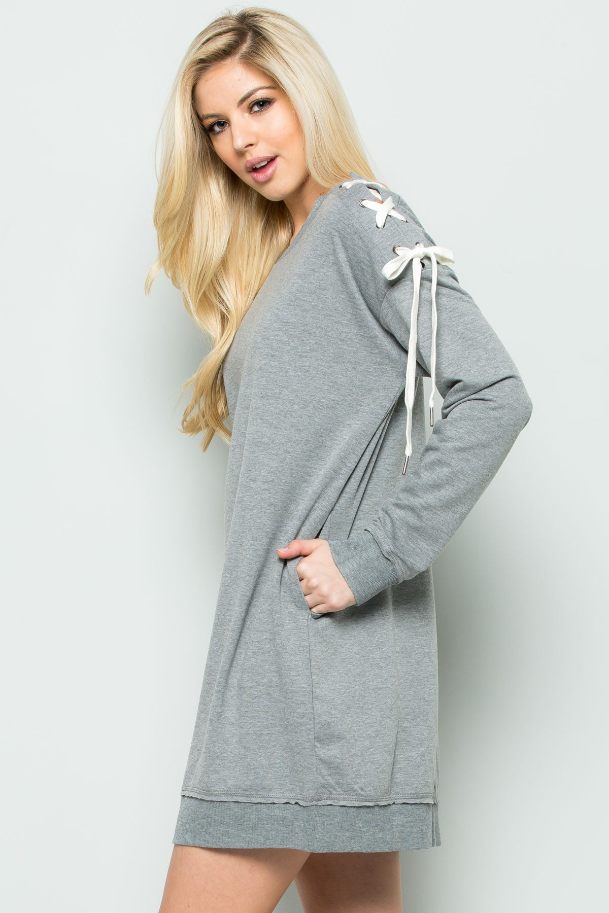 Shoulder Lace Up Sweater Dress in Heather Grey - Dresses - My Yuccie - 3