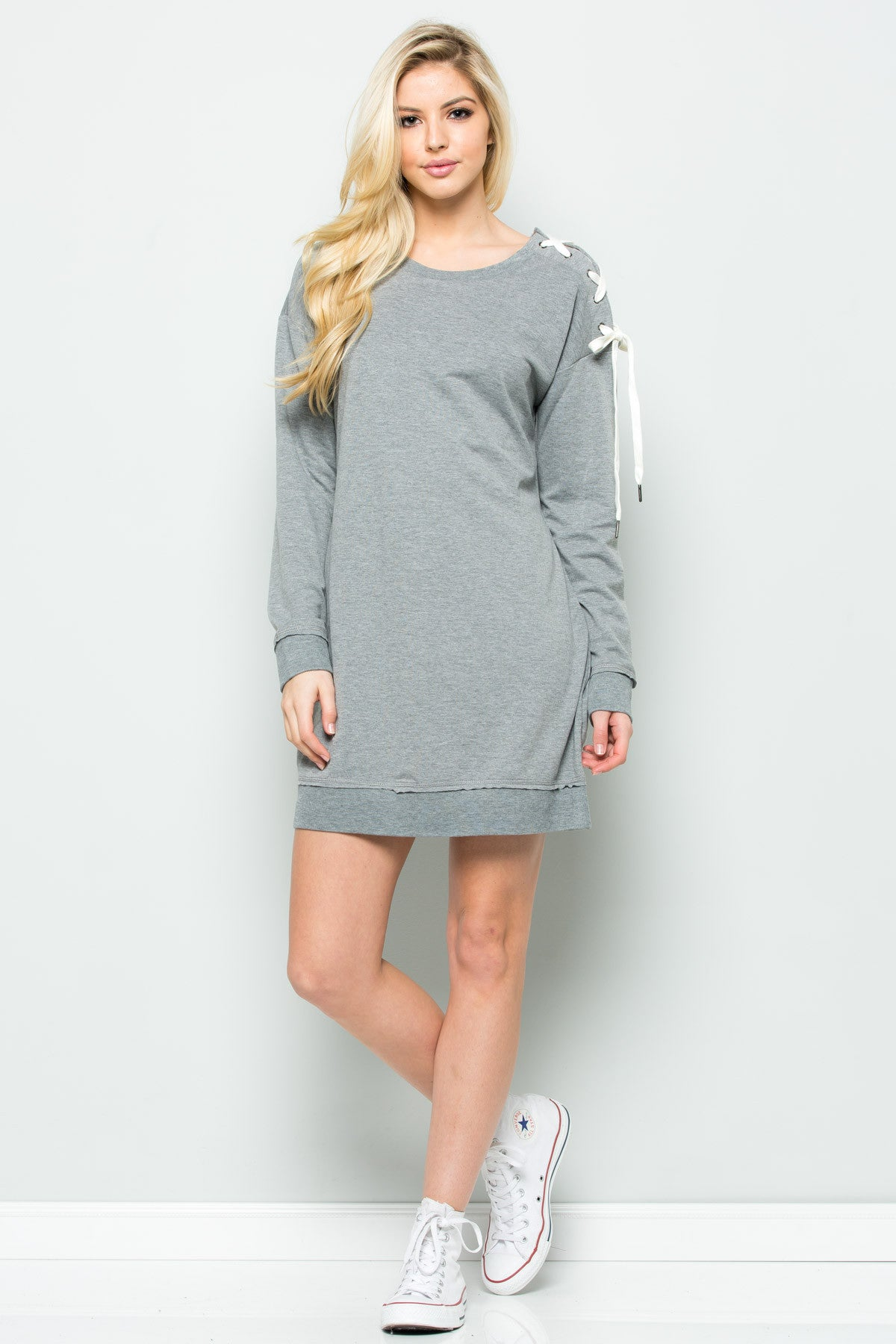 Shoulder Lace Up Sweater Dress in Heather Grey - Dresses - My Yuccie - 2