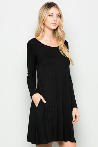 Black Long Sleeve Open Back Swing Dress - Dresses - My Yuccie - 1
