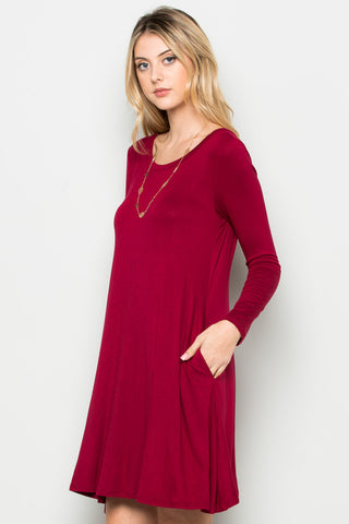 Burgundy Long Sleeve Open Back Swing Dress - Dresses - My Yuccie - 1