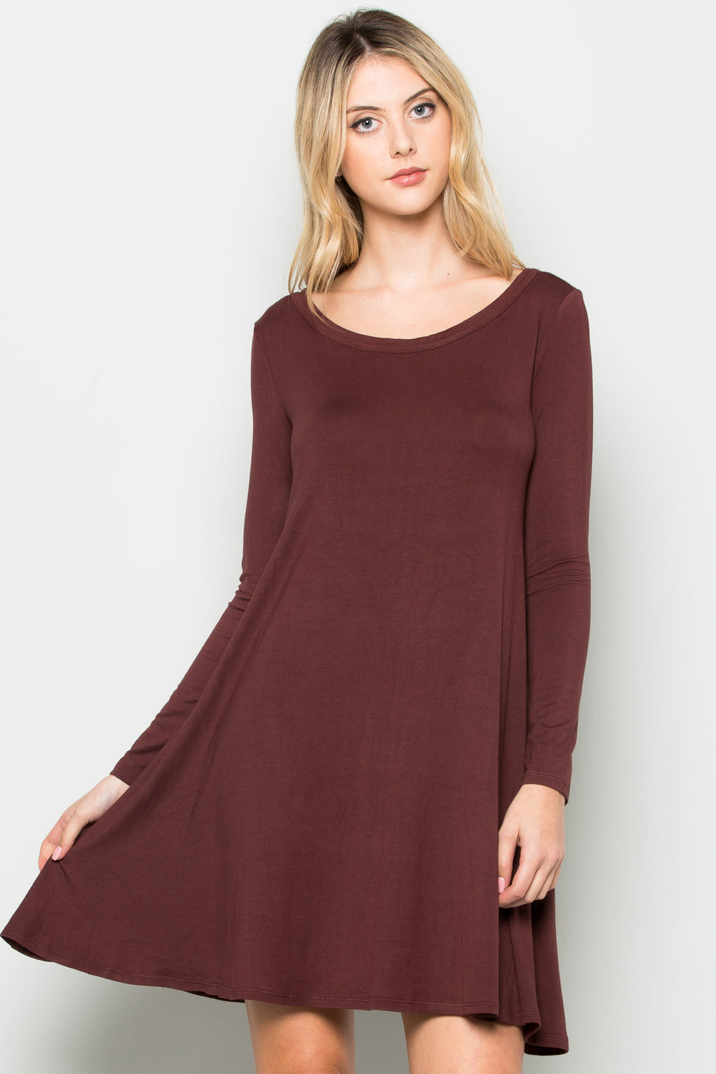 Java Long Sleeve Open Back Swing Dress - Dresses - My Yuccie - 4