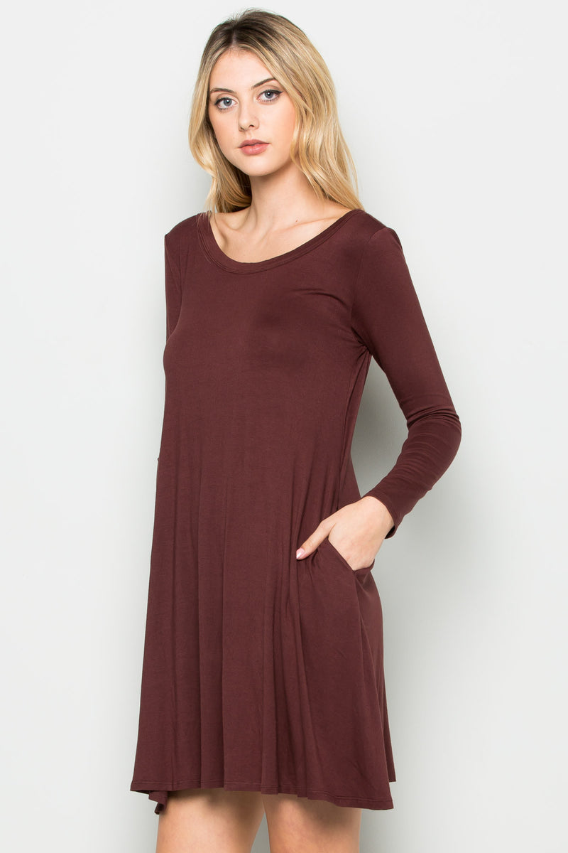 Java Long Sleeve Open Back Swing Dress - Dresses - My Yuccie - 2