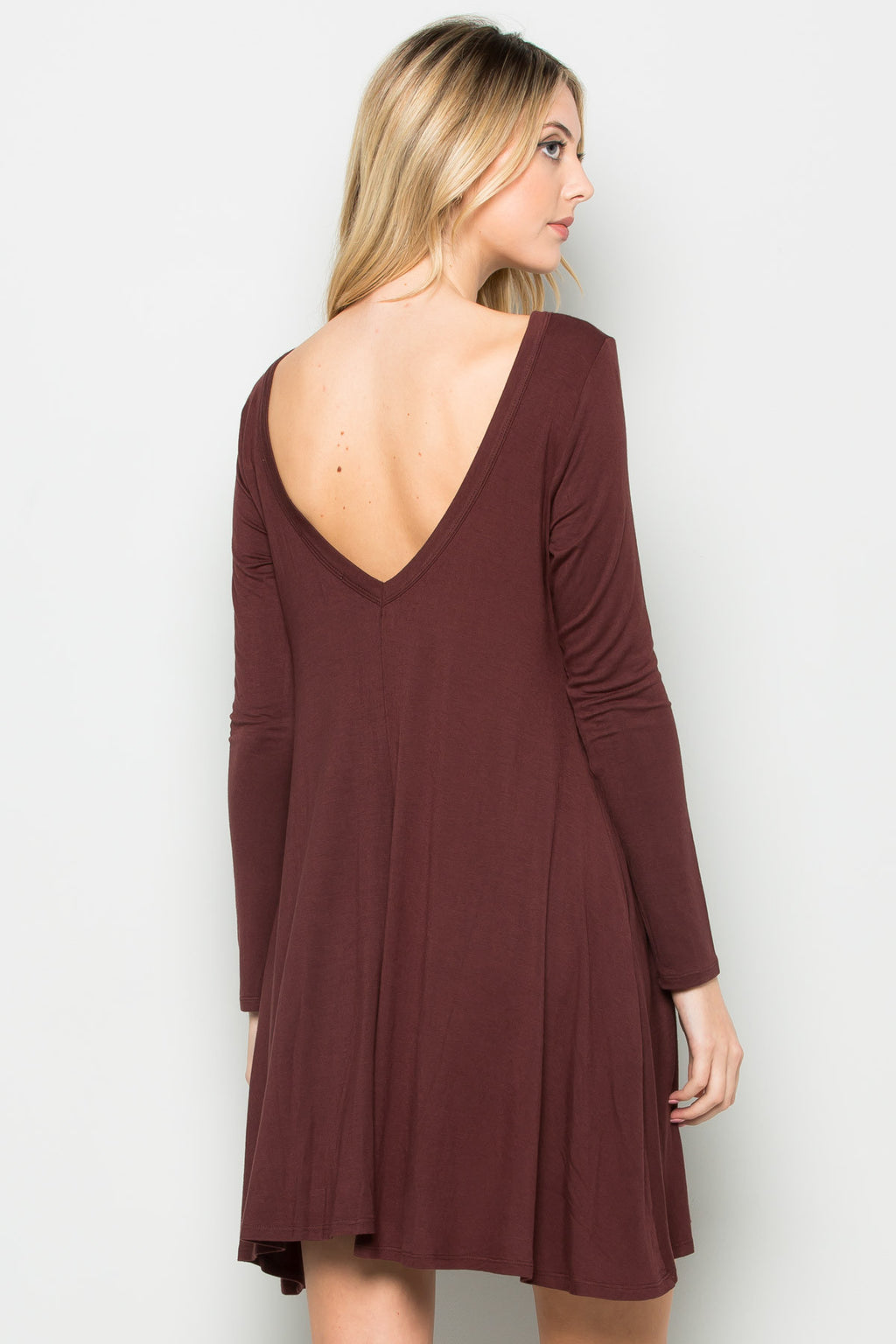 Java Long Sleeve Open Back Swing Dress - Dresses - My Yuccie - 1