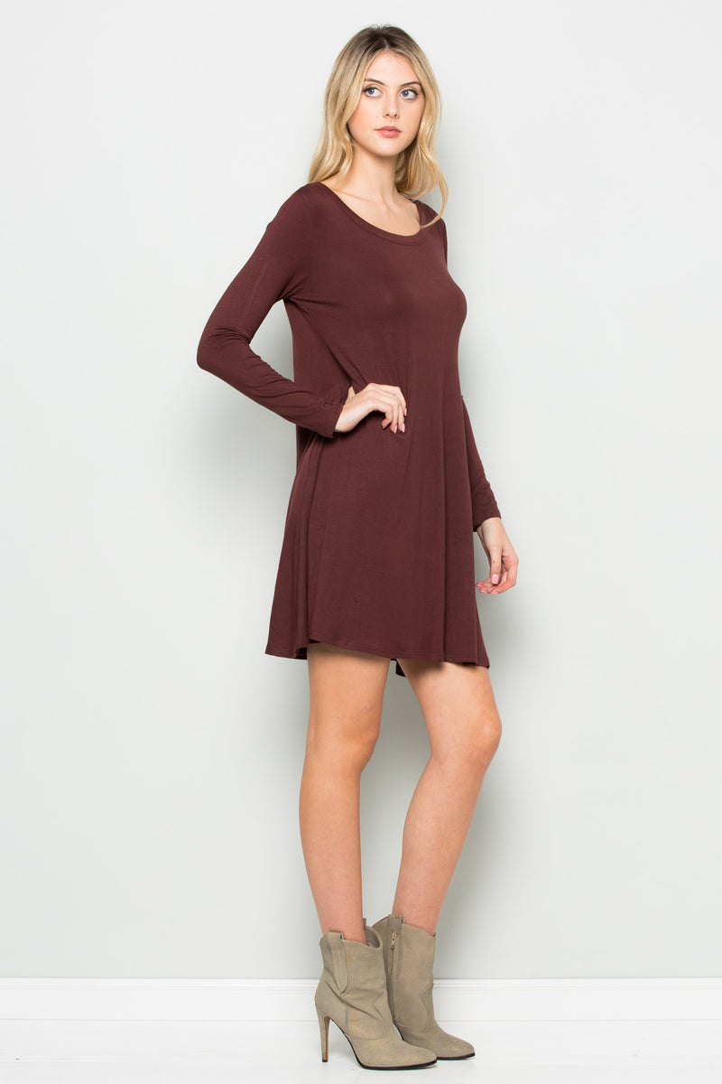 Java Long Sleeve Open Back Swing Dress - Dresses - My Yuccie - 3