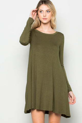 Military Green Long Sleeve Open Back Swing Dress - Dresses - My Yuccie - 1