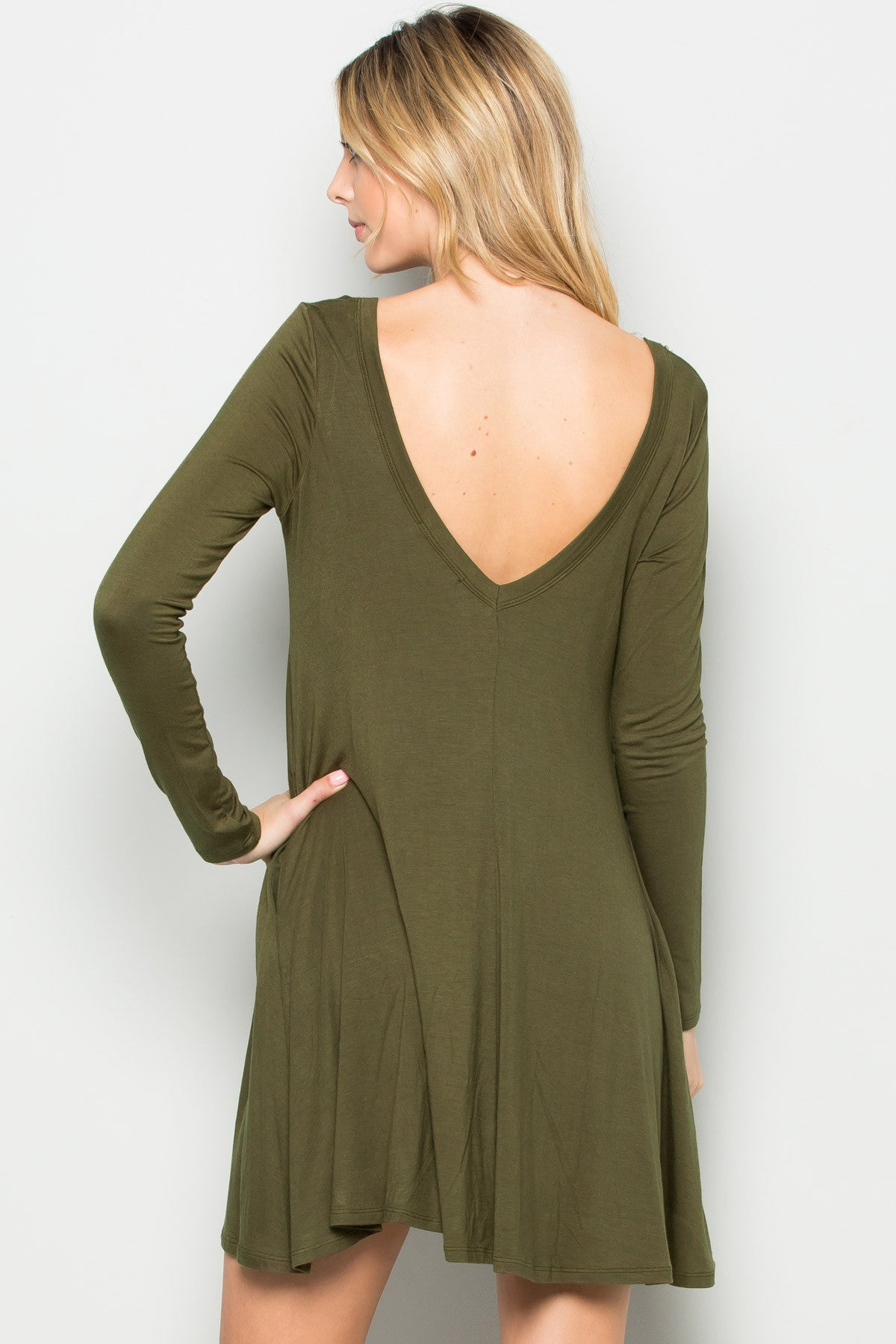 Military Green Long Sleeve Open Back Swing Dress - Dresses - My Yuccie - 8