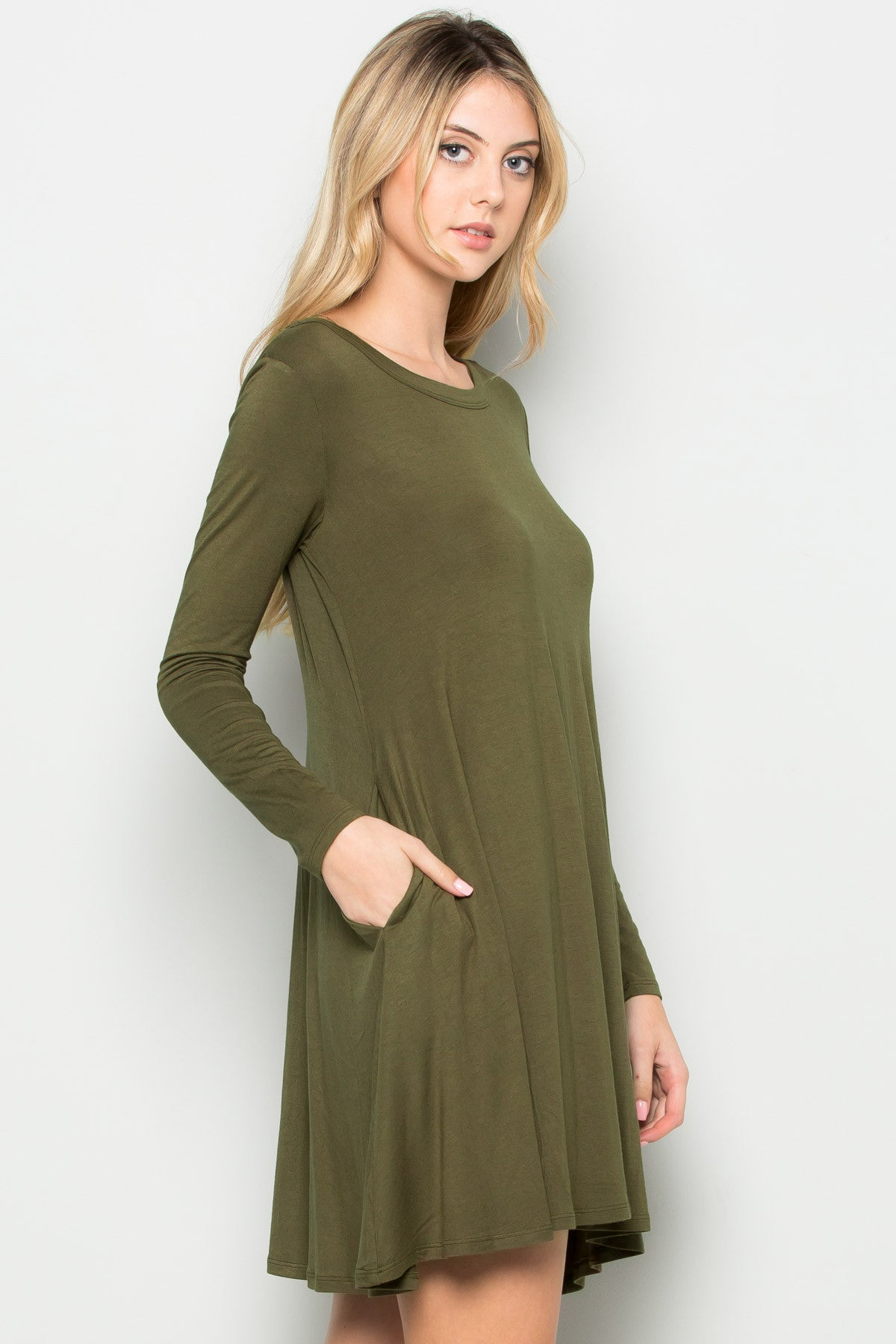 Military Green Long Sleeve Open Back Swing Dress - Dresses - My Yuccie - 9